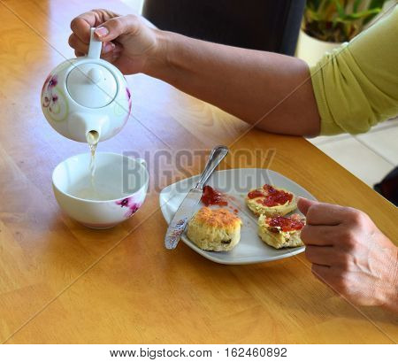 Traditional afternoon tea , British culture tea and scones