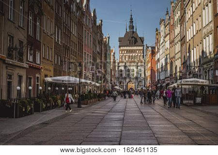 Gdansk, Poland - October 13, 2016: The Long Lane Street In Old Town Of Gdansk, Poland. Baroque Archi
