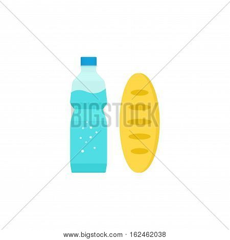 Food and drinks vector concept, carton milk box and long bread loaf flat style icon, breakfast meal isolated on white background