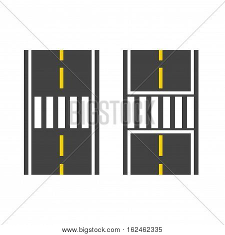 Pedestrian crossing on road top view vector illustration, crosswalk path, crossover set on white background