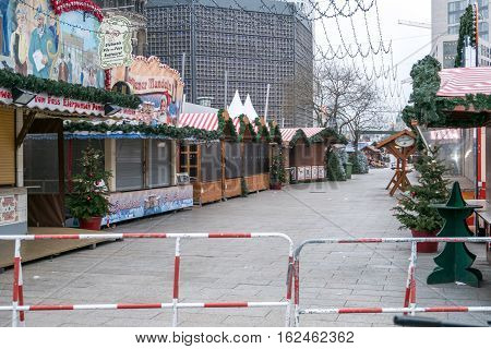Berlin Germany - december 20, 2016: The crime scene at Christmas Market in Berlin the day after a truck drove into a crowd of people.