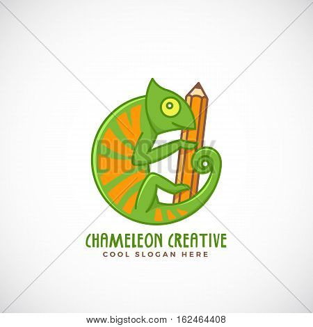 Chameleon Creative. Abstract Vector Line Style Sign, Emblem or Logo Template. Reptile on a Pencil Concept Symbol. Isolated.