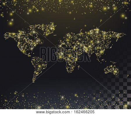 World map of twinkling lights. Background with Gold glitter texture. Isolated world map and the twinkling lights on the top and bottom. Abstract background for advertising or site. Vector illustration