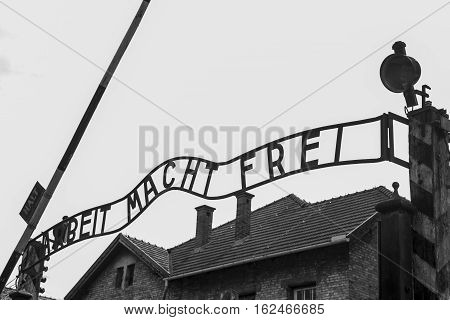 Work liberates sign at concentration camp Auschwitz Birkenau KZ Poland