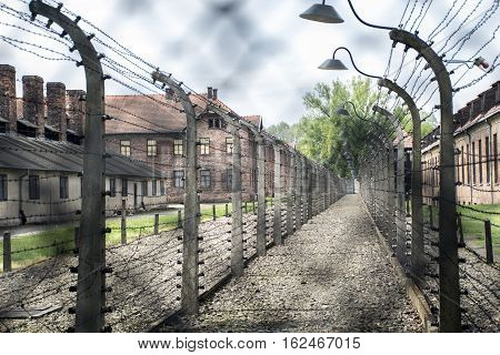 barbed wire at concentration camp Auschwitz Birkenau KZ Poland