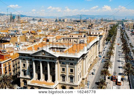 Aerial view of Passeig de Colom and the skyline of Barcelona, Spain