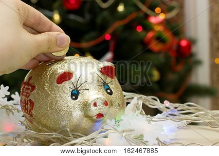 Golden Piggy Bank With Chinese Character.