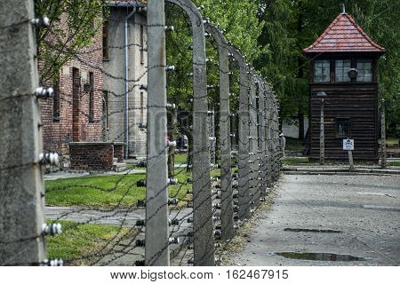 barbed wire tower at concentration camp Auschwitz Birkenau KZ Poland 2