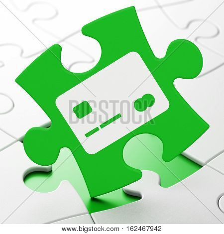 Money concept: Credit Card on Green puzzle pieces background, 3D rendering