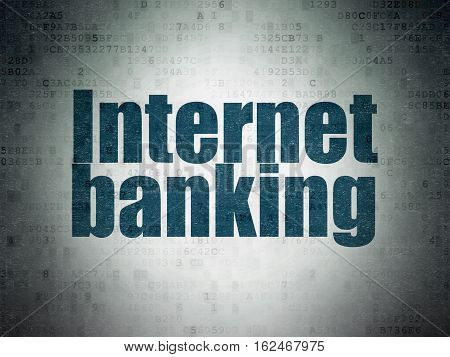 Currency concept: Painted blue word Internet Banking on Digital Data Paper background