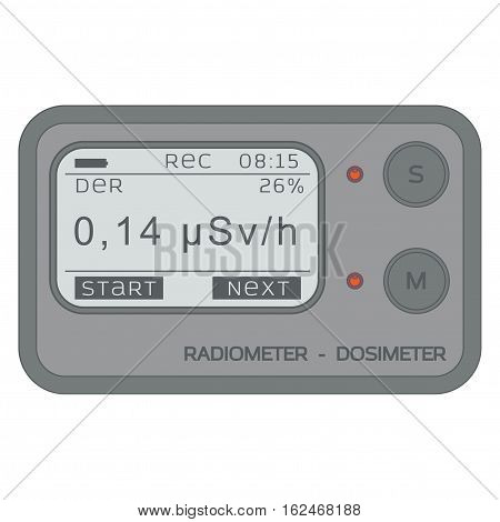 Gamma Radiation Personal Dosimeter. Radiometer. Vector illustration.