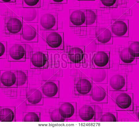 Abstract seamless pattern on pink surface smooth convex and pink and gray, black balls and circles, squares and dots