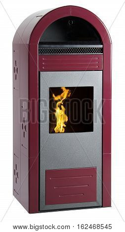 Red pellet stove with fire isolated on white