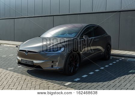 TILBURG NETHERLANDS - SEPTEMBER 25 2016: Tesla Model X P90D. Tesla Motors Assembly Plant in Tilburg Netherlands.