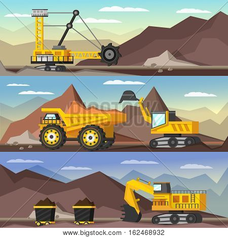 Mining industry orthogonal banners set with machineries and coal in trolleys on mountain background isolated vector illustration