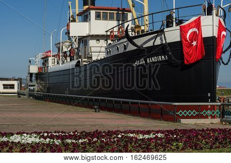 Samsun, Turkey - November 19, 2016: SS Bandirma ship which became famous for her historical role in taking Mustafa Kemal Pasha (Ataturk) from Istanbul to Samsun in May 1919.