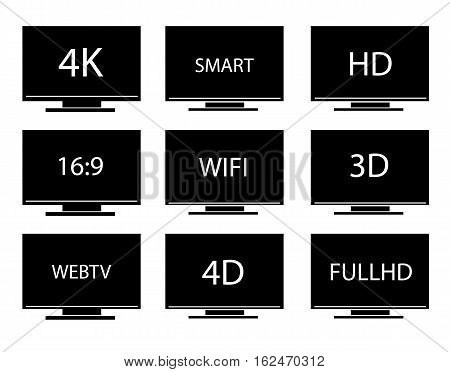 Collection of TV icons vector set. Isolated