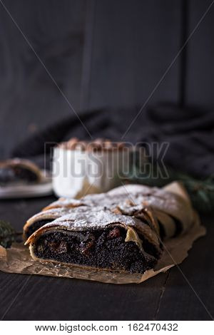 Strudel On Black Background