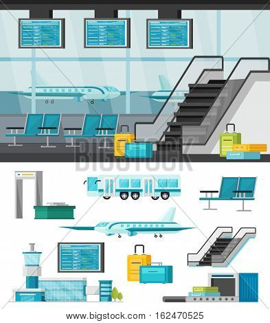 Airport orthogonal concept with waiting hall interior design and set of icons isolated vector illustration