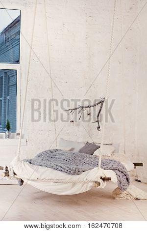 Bed, Scandinavian Style, Gray Plaid.
