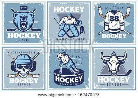 Six square hockey championship posters with old style compositions of sportsman characters mascots and various accessories vector illustration
