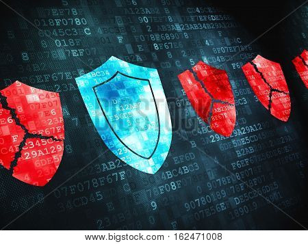 Privacy concept: pixelated Shield icon on digital background