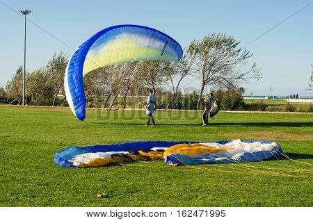 Samsun, Turkey - November 19, 2016: Paragliding course lessons for new beginners on the park