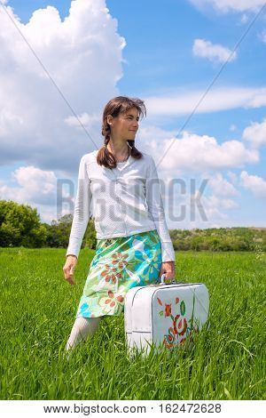 Hipster Girl Holding A White Suitcase