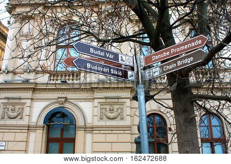 Street signs for turist and attractions: Chain bridge and other routh in Budapest Hungary