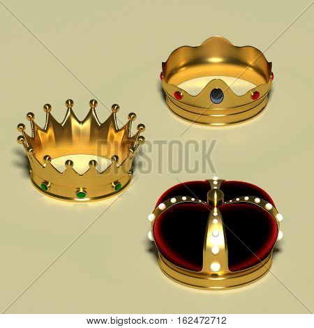 Three different royal crowns made in gold and gems. Luxury jewelry. Monarchy concept. 3d render 3d illustration