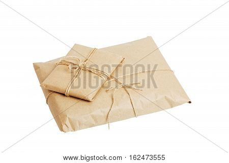 Parcels With Kraft Paper Isolated On White