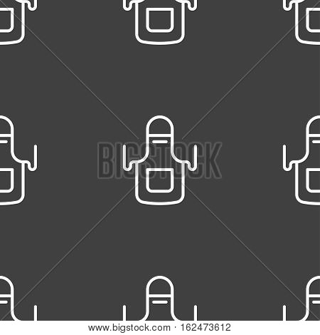 Kitchen Apron Icon Sign. Seamless Pattern On A Gray Background. Vector