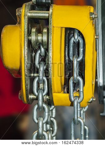 Chain hoist for lifting with a blurred background