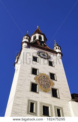 Old town hall (Altes Rathaus) located at Marienplatz square in Munich Germany