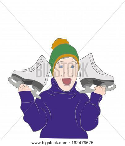 joyous boy holding a skate. vector illustration
