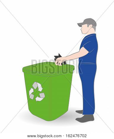 man throwing garbage into a trash can. concept of environmental conservation. vector illustration.
