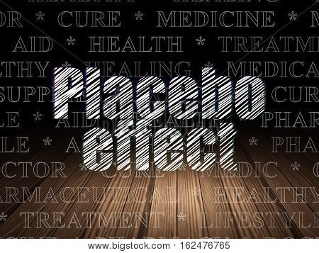 Medicine concept: Glowing text Placebo Effect in grunge dark room with Wooden Floor, black background with  Tag Cloud