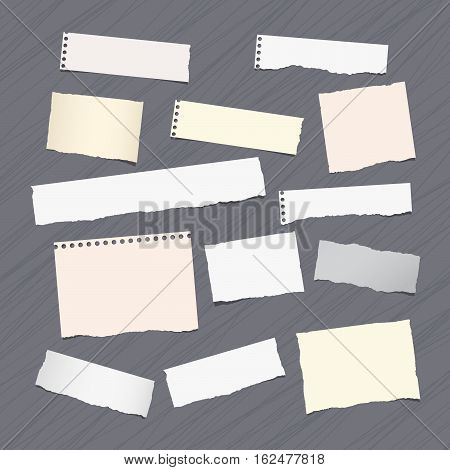 Ripped note, notebook, copybook paper sheets stuck on lined pattern.