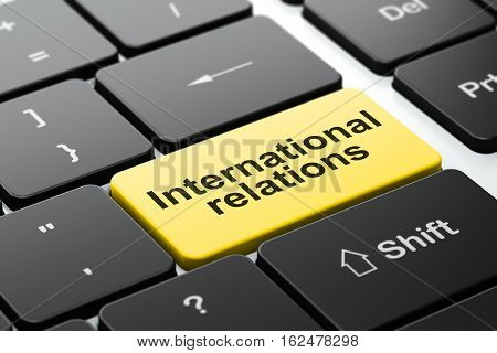 Political concept: computer keyboard with word International Relations, selected focus on enter button background, 3D rendering