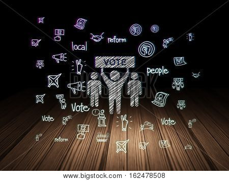 Political concept: Glowing Election Campaign icon in grunge dark room with Wooden Floor, black background with  Hand Drawn Politics Icons