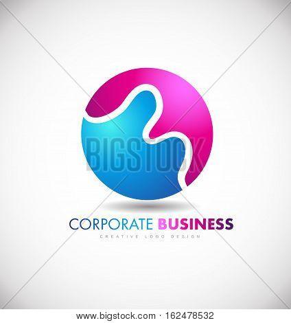 Corporare business sphere blue purple vector logo icon sign design template