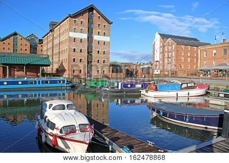 boats moored in Gloucester Docks canal basin