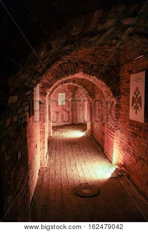 St. Petersburg, Russia - 2 December, Corridor of old brick, 2 December, 2016. Visit musketeer chambers of the Peter-Paul Fortress in the framework of the cultural forum in St. Petersburg.