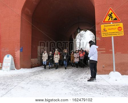 St. Petersburg, Russia - 2 December, A group of visitors included in Petro Paul Fortress, 2 December, 2016. Land and building the Peter-Paul fortress.