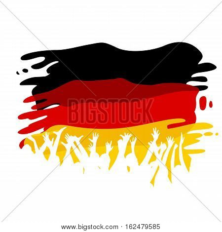 White silhouettes of people on the flag of Germany as a background