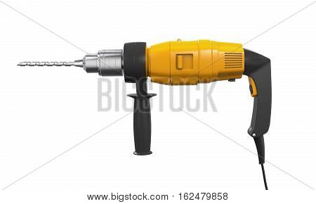 Electric Drill isolated on white background. 3D render