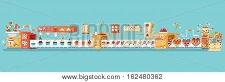 Stock vector horizontal illustration isolated conveyor for production and packaging candies, lollipops and sweets, in flat style on blue background for banner, website, printed material, infographic