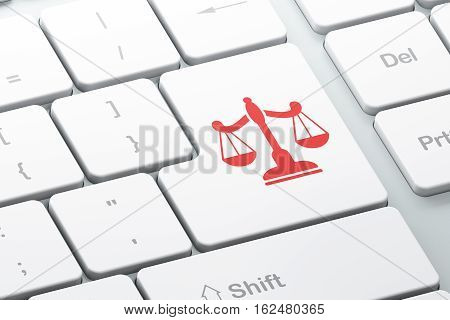 Law concept: Enter button with Scales on computer keyboard background, 3D rendering