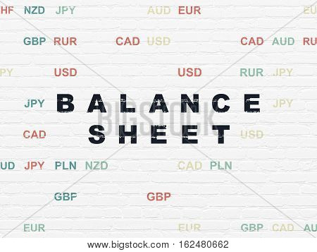 Banking concept: Painted black text Balance Sheet on White Brick wall background with Currency