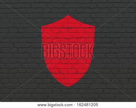 Privacy concept: Painted red Shield icon on Black Brick wall background